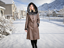 Higgs Leathers SOLD!  Sylvia (hooded Nappa Shearling coat) SOLD!