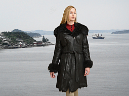 Higgs Leathers {NEW!}  Uniqua (ladies Black Toscana Shearling coats) New Generation Shearling Coats!