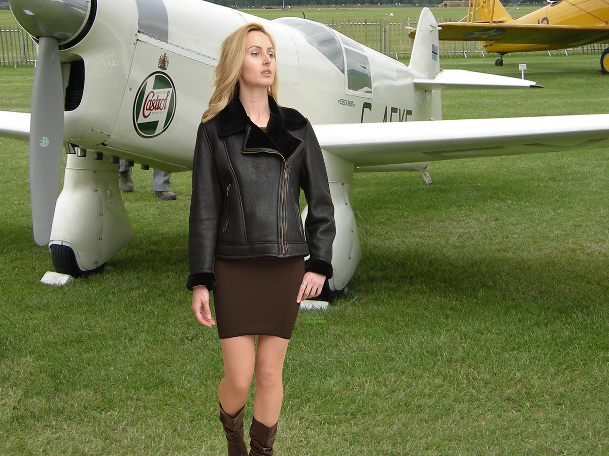 Higgs Leathers {NEW!}  Amelia (ladies Black Merino Shearling flying jacket) NEW LOWER PRICE!