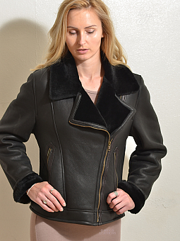 Higgs Leathers {NEW PICTURE!}  Amelia (ladies Black Merino Shearling flying jacket) NEW LOWER PRICE!