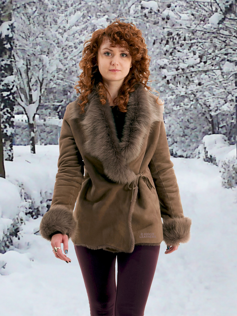 Higgs Leathers {NEW!}  Antoinette (ladies Toscana trimmed Merino jackets) From our wonderful selection of Shearling jackets!