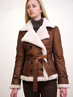 Higgs Leathers SOLD!  Betia (ladies Sheepskin lined belted Leather jackets)