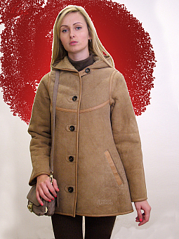 Higgs Leathers UNDER HALF PRICE!  Celia (ladies Beige Hooded Sheepskin jacket)