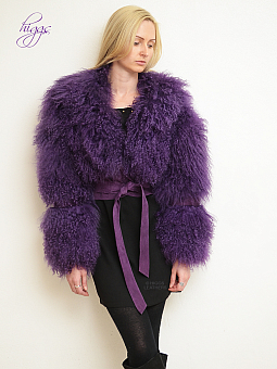 Higgs Leathers Chi-Chi (Purple Mongolian Lamb cropped jackets)