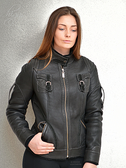 Higgs Leathers ONE ONLY!  Dappy (ladies Black Shearling Biker jacket)