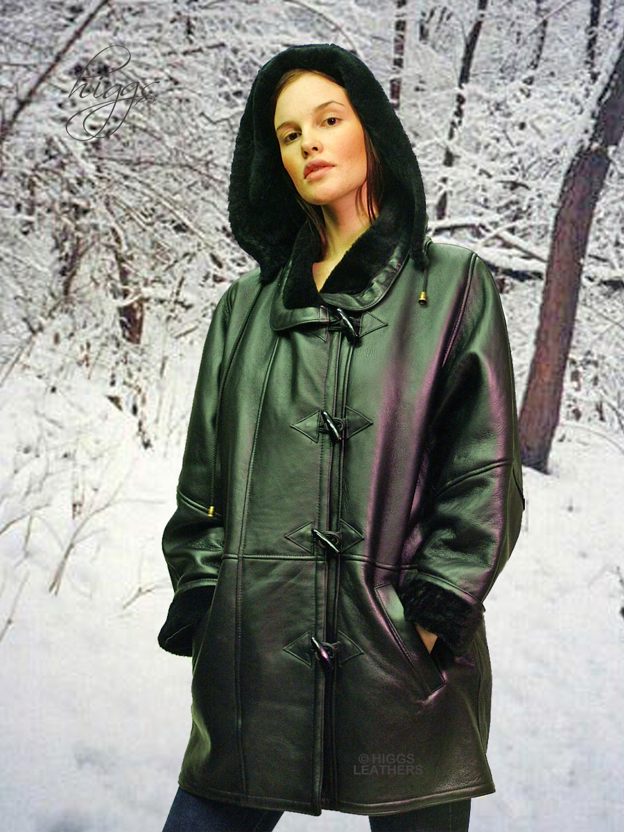 Higgs Leathers {NEW STOCK!}  Debbie (ladies Hooded Merino Shearling duffle coat) So very VERY soft!