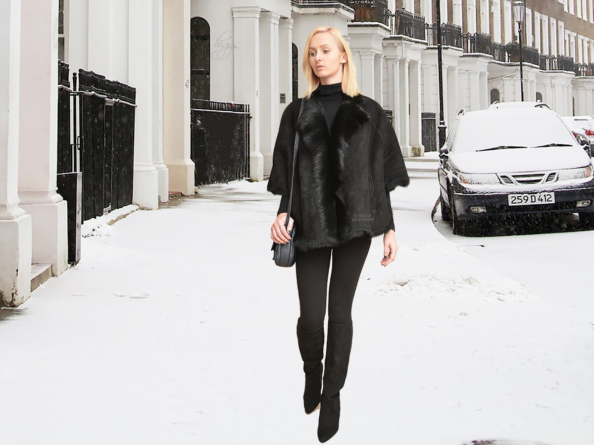 Higgs Leathers {ONE ONLY SAVE £200!}  Elizabeth (Black Toscana Cape Jackets) NEW GENERATION SHEARLING JACKETS!