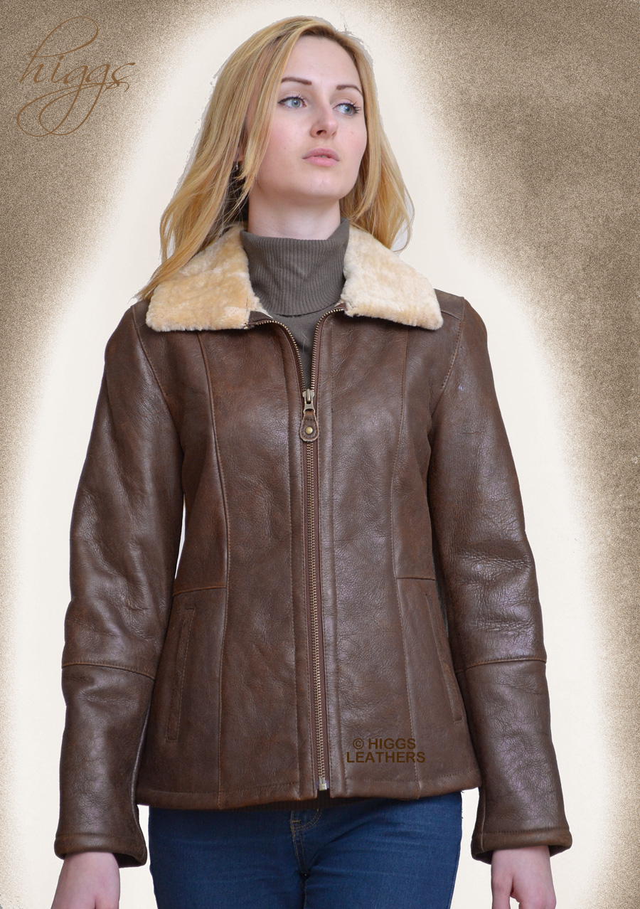 Higgs Leathers {LAST FEW!}  Holly (ladies Nappa Shearling zip jackets) Few only at this very low price!