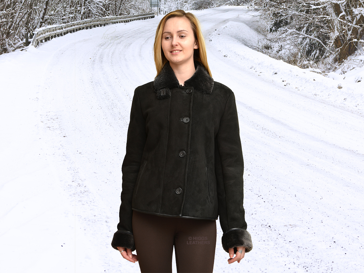 Higgs Leathers {NEW!}  Joyce (ladies fitted Black Shearling jackets) LIMITED OFFER - WHILE STOCKS LAST!