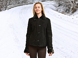 Higgs Leathers NEW!  Joyce (ladies fitted Black Shearling jackets)