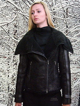 Higgs Leathers {LAST ONE SAVE £200!}  Laska (ladies Black Shearling Flying jacket)  OUTSTANDING DESIGN!