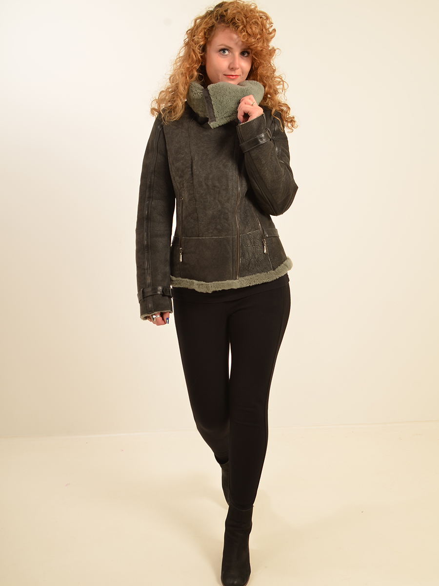 Higgs Leathers {LAST ONE SAVE £100!}  Laska (ladies Grey Shearling Flying jackets)