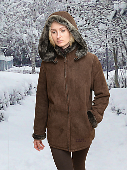 Higgs Leathers ALL SOLD!  Mello (hooded Brown Shearling zip jacket) SOLD!