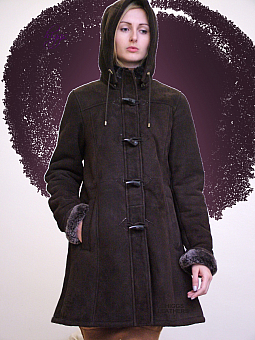Higgs Leathers NEW STOCK SAVE £100!  Vinnie (ladies Brown Shearling Duffle coats)