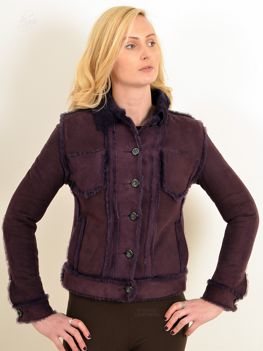 Higgs Leathers {HALF PRICE SAVE £200!}  Yaslin (ladies Purple Shearling jacket) ONE ONLY - EXTRA EXTRA SMALL!
