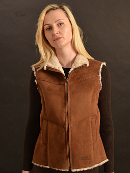 Higgs Leathers ALL SOLD  Abberton (ladies Tan Shearling gilet)