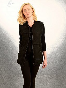 Higgs Leathers ONE ONLY SAVE £120!  Corbina (black Shearling gilet)