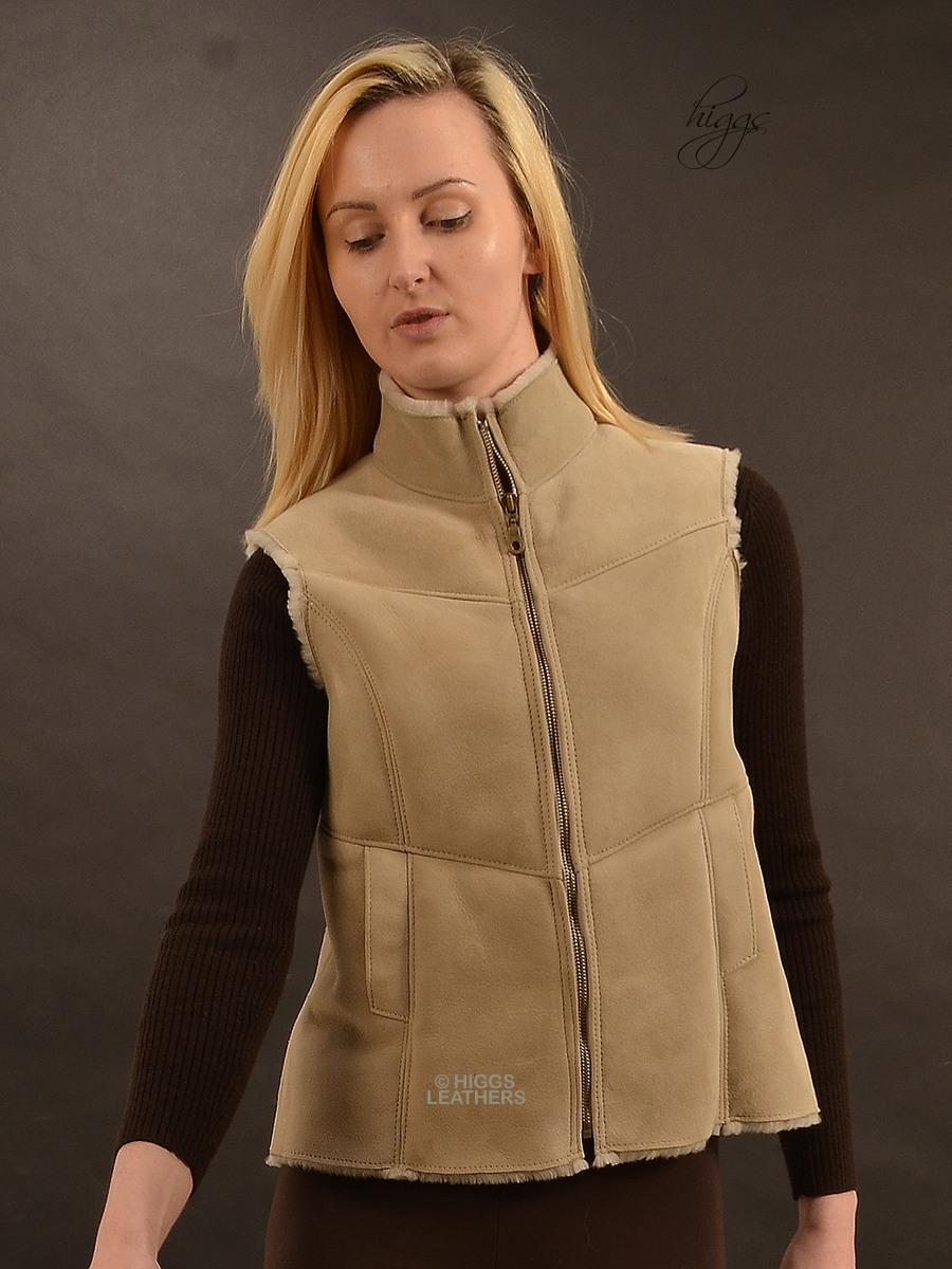 Higgs Leathers {HALF PRICE SAVE £123!}  Gella (ladies Shearling Gilets) Few only - Fantastic value!