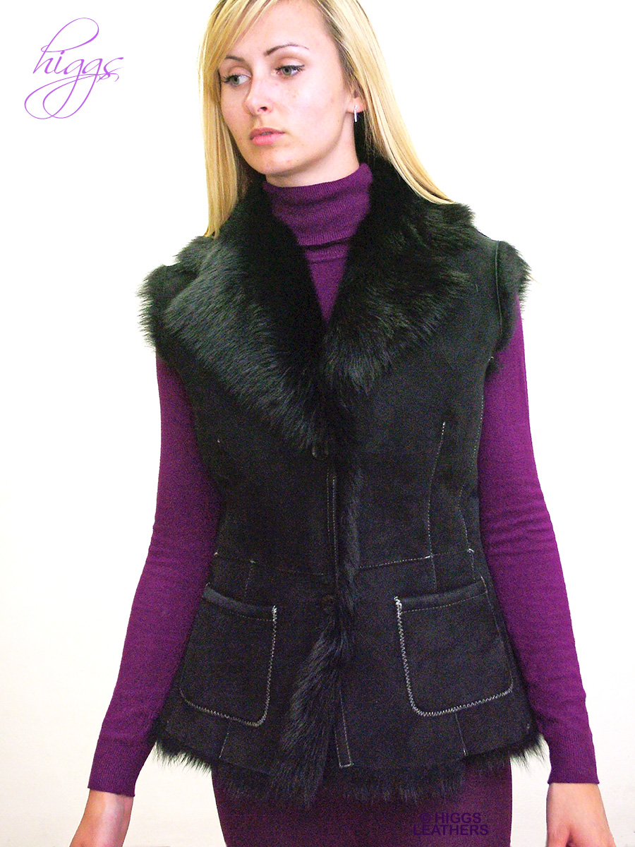 Higgs Leathers {ALL SOLD!}  Gelray (ladies Black Toscana gilet)