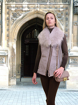 Higgs Leathers LAST ONE!  Lala (ladies Beige Designer Shearling gilets)