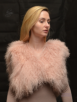 Higgs Leathers ONE ONLY HALF PRICE!  Omee (shorter length Pink Mongolian Lamb gilet)