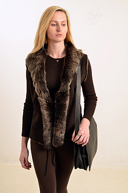 Higgs Leathers LAST ONE SAVE £50!  Sophia (ladies Toscana trimmed Shearling gilets)