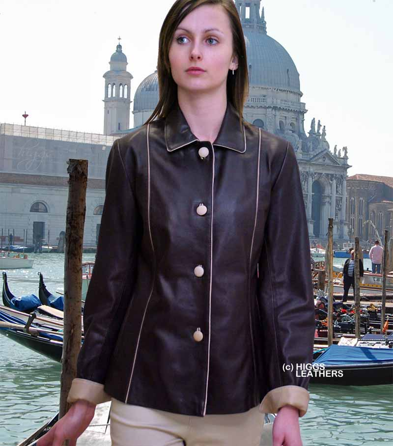 Higgs Leathers Chris (Special quality two tone women's leather jackets)