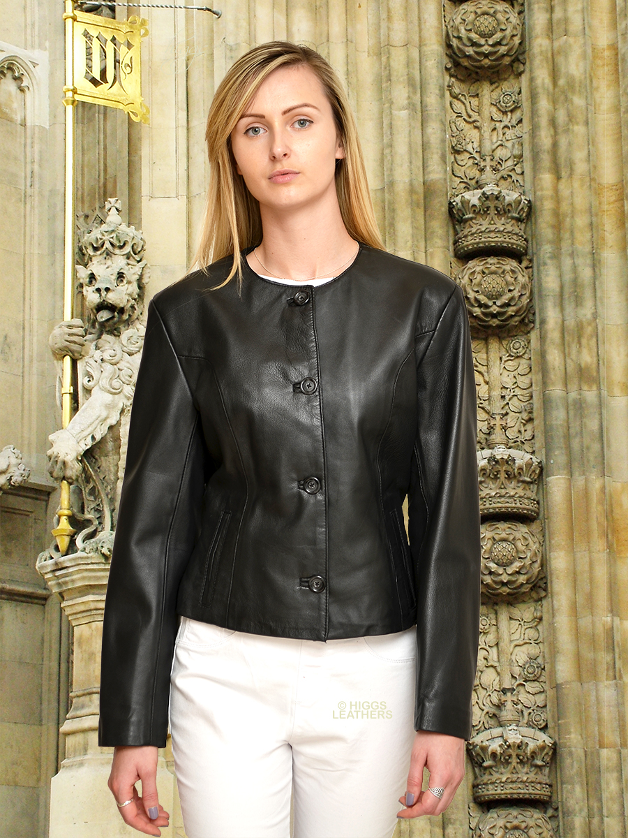 Higgs Leathers {NEW!}  Coco (ladies cropped Black Leather jackets) Modern Classic!