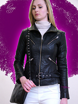 Higgs Leathers LAST ONE! - Zapita (ladies belted leather Biker jackets)