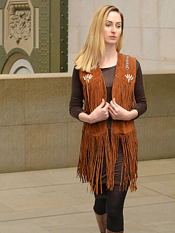 Higgs Leathers SAVE £40!  Shawnee (Fringed tan suede long Gilet)