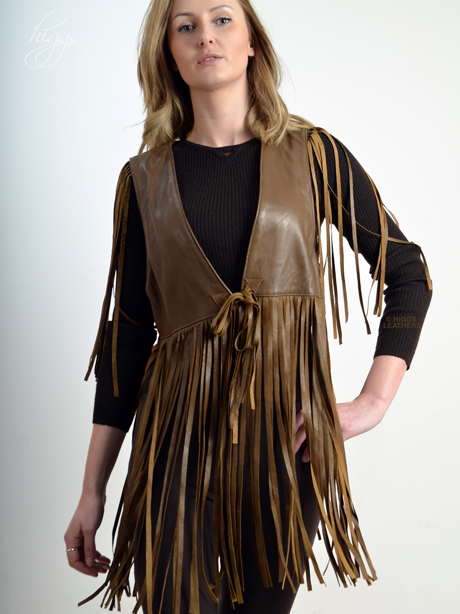 Higgs Leathers {HALF PRICE!}  Wallace (ladies Fringed Brown Leather Gilet) Stunning Leather Line Dancer!