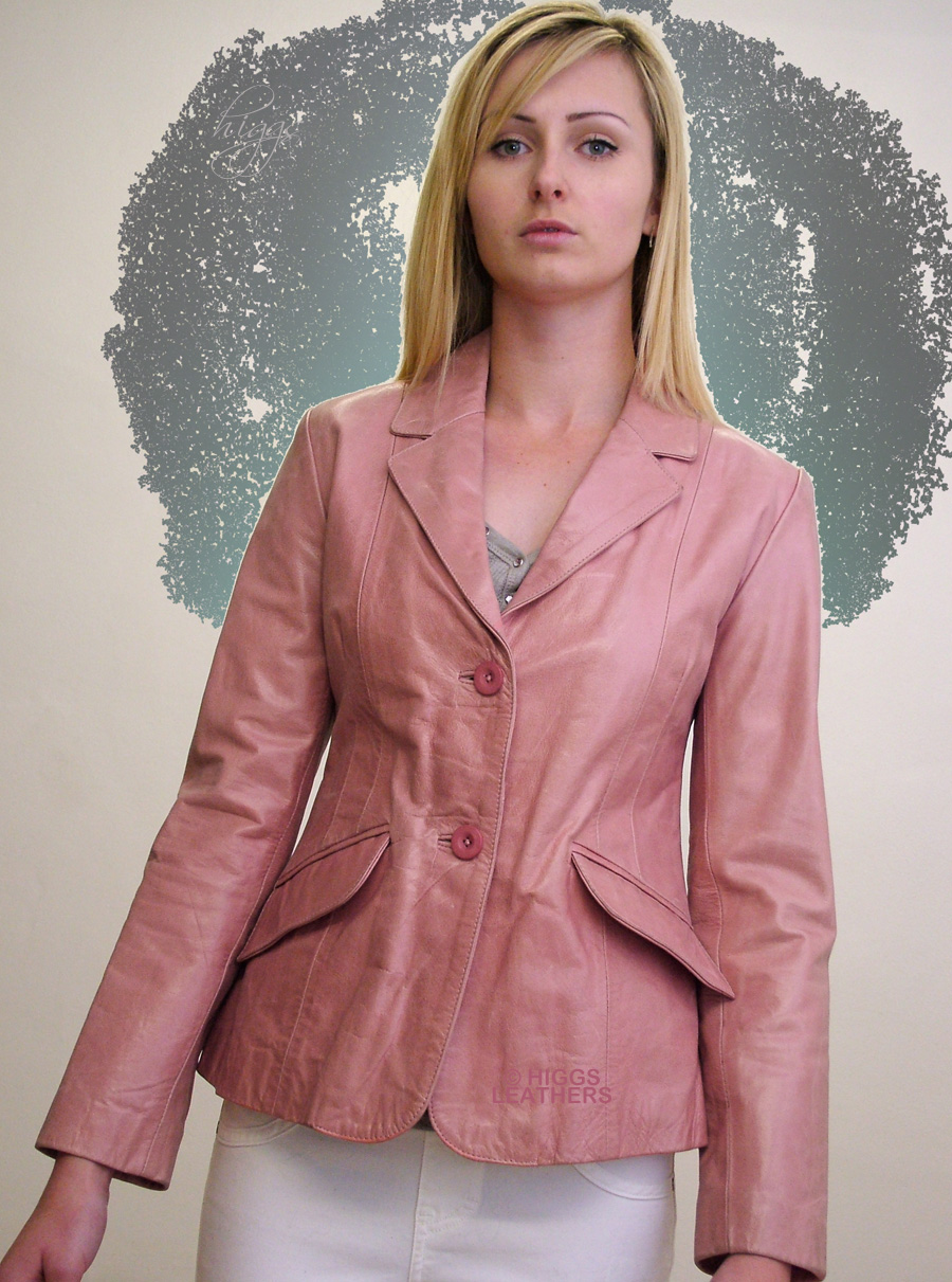 Higgs Leathers {LAST ONE!}  Inthe (ladies Pink Leather Blazer jacket) ONE ONLY - SLIGHTLY SHOP SOILED