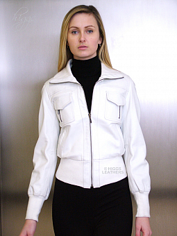 Higgs Leathers UNDER HALF PRICE! Washelle (ladies white leather Bomber jacket)SOLD!
