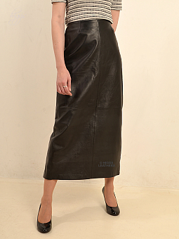 Higgs Leathers NEW STOCK!  Bettine  (Mid calf length ladies Black Leather skirts)