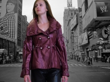 Higgs Leathers SOLD! Meryl (ladies Burgundy leather jackets)