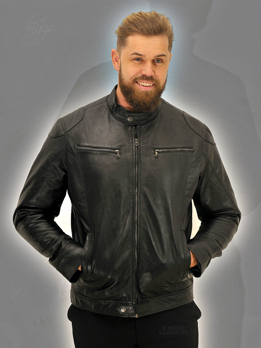 Higgs Leathers {FEW ONLY SAVE £50!}  Baccus  (men's Black Leather Biker jacket)