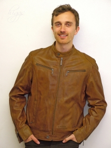 Higgs Leathers Baccus  (men's Tan Leather Bikers jackets)