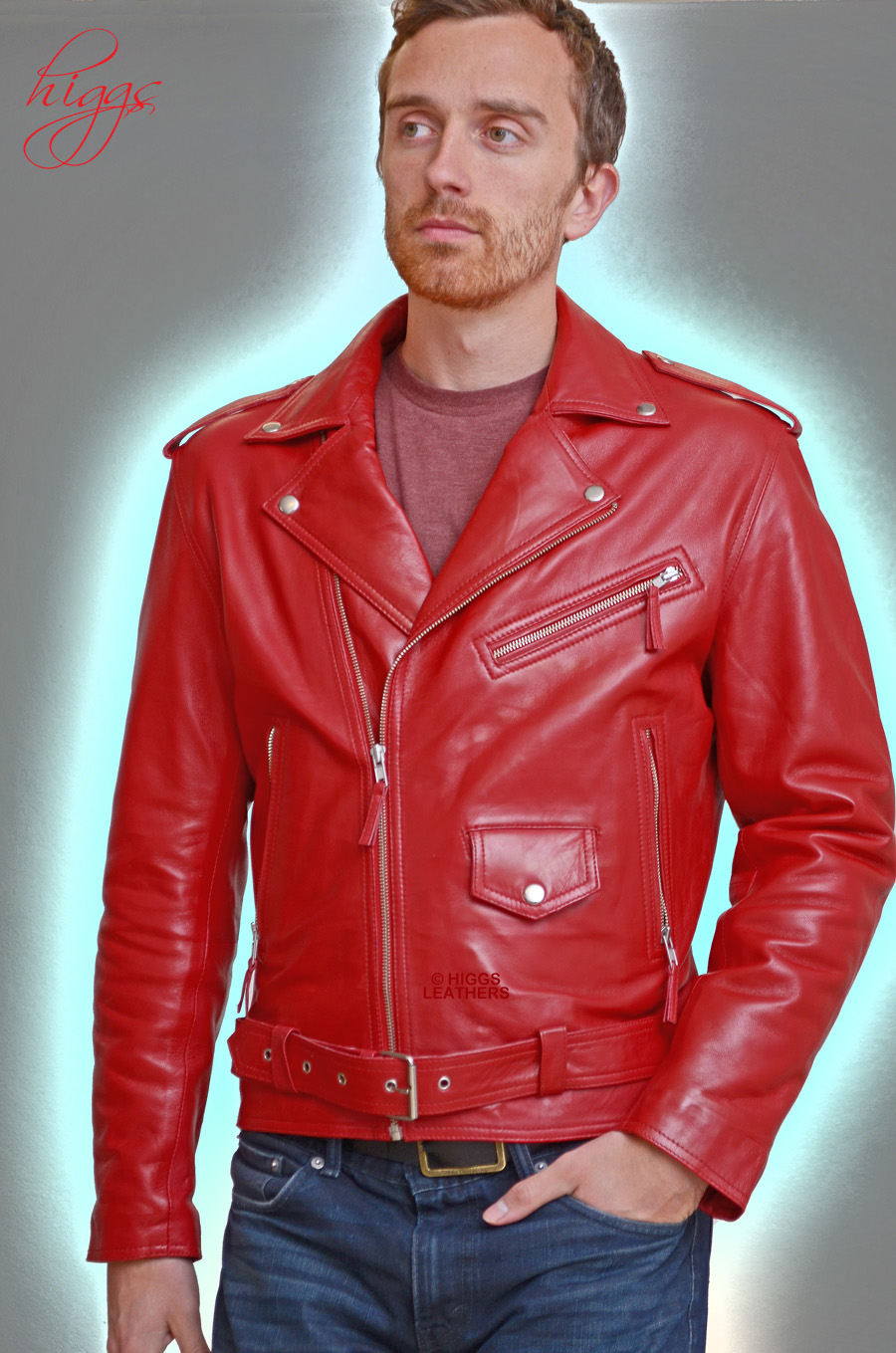 Higgs Leathers {NEW STOCK!}  Brandex (men's Red Leather Biker jackets) Wonderful value!