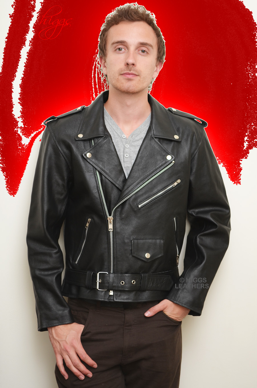Higgs Leathers {NEW STOCK!}  Brando (motorcycle Black Leather jacket for men) INCREDIBLE VALUE!