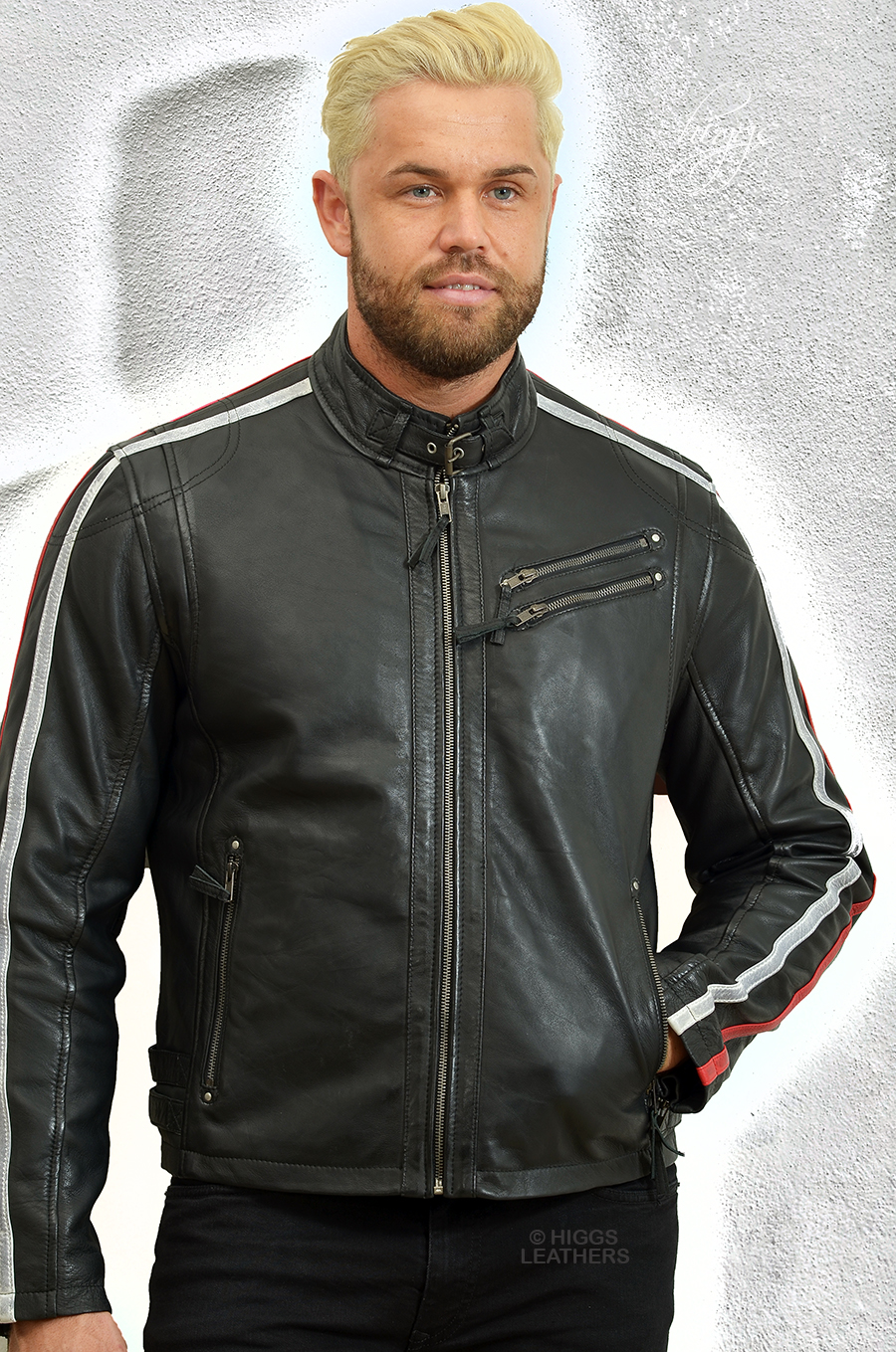 Higgs Leathers {ALL SOLD!}  Chip (men's striped Black Leather Biker jackets)