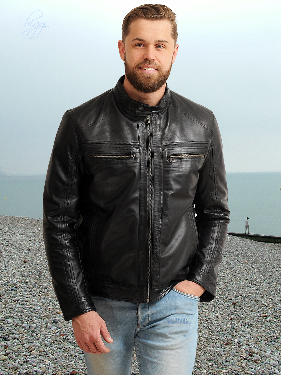 Higgs Leathers {FEW ONLY - NEW STOCK!}  Gary (men's Black Leather Bikers jackets) SIZES UP TO 50' CHEST!