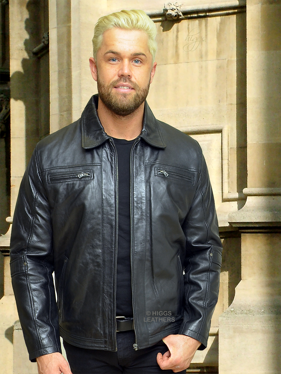 Higgs Leathers {FEW ONLY!}  Lennox (men's Black Leather Biker jackets) LIMITED OFFER WHILE STOCKS LAST!