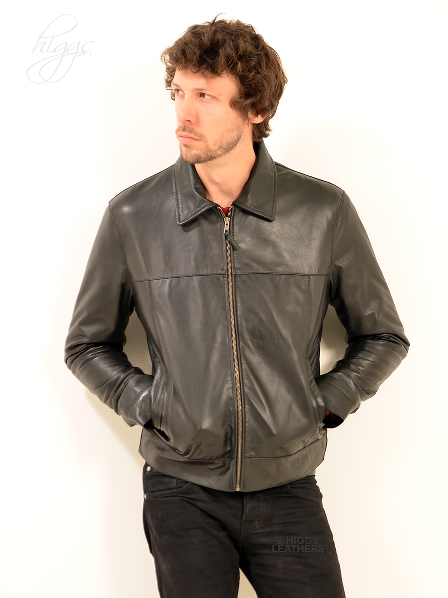 Higgs Leathers {NEW STOCK!}  Levett  (men's Black Leather Jeans jackets)