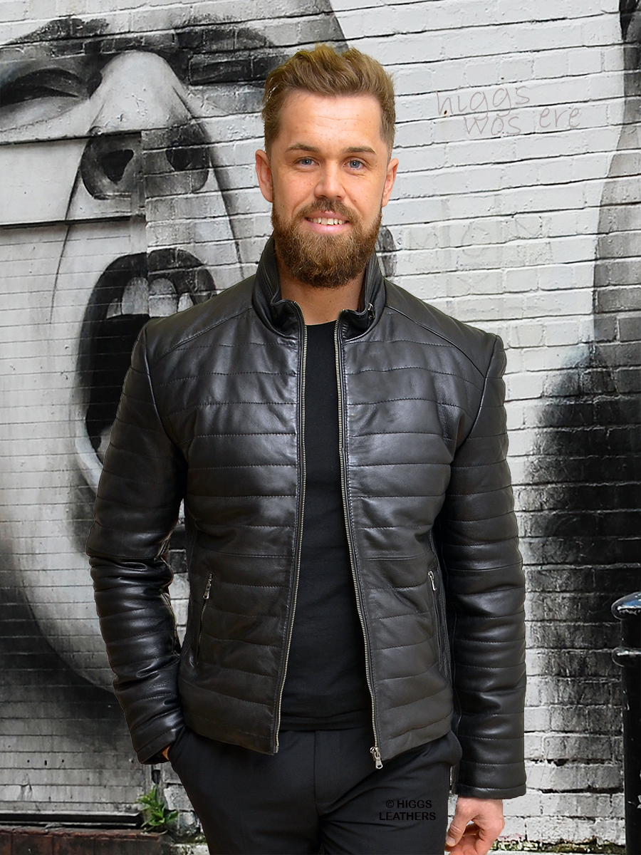 Higgs Leathers {SOLD!}  Pablo (Black Leather Puffa Biker jacket)