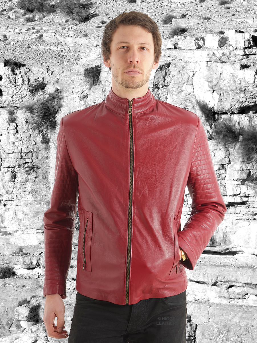 Higgs Leathers {NEW!}  Paddo (men's Red Leather Biker jackets)