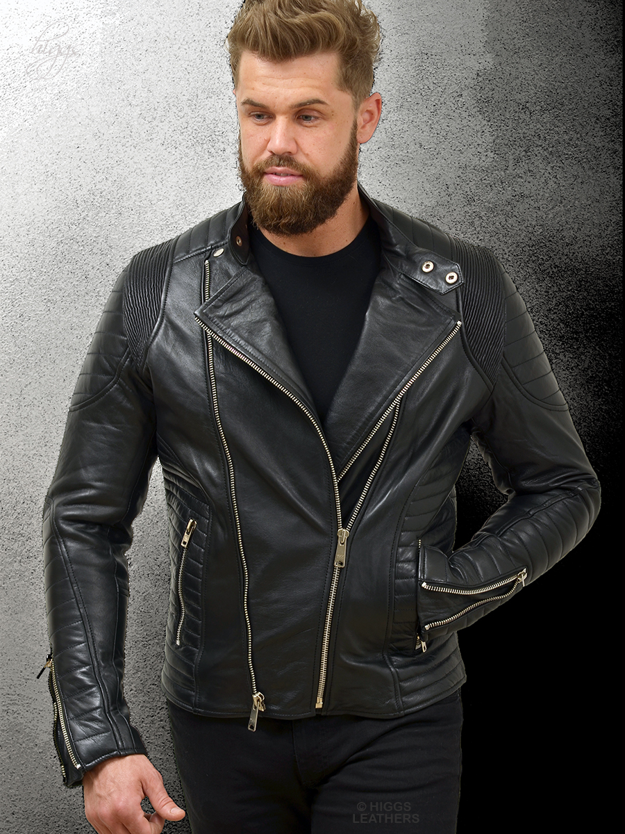 Higgs Leathers {FEW ONLY!}  Patton (Black Leather Designer Biker jacket for men)