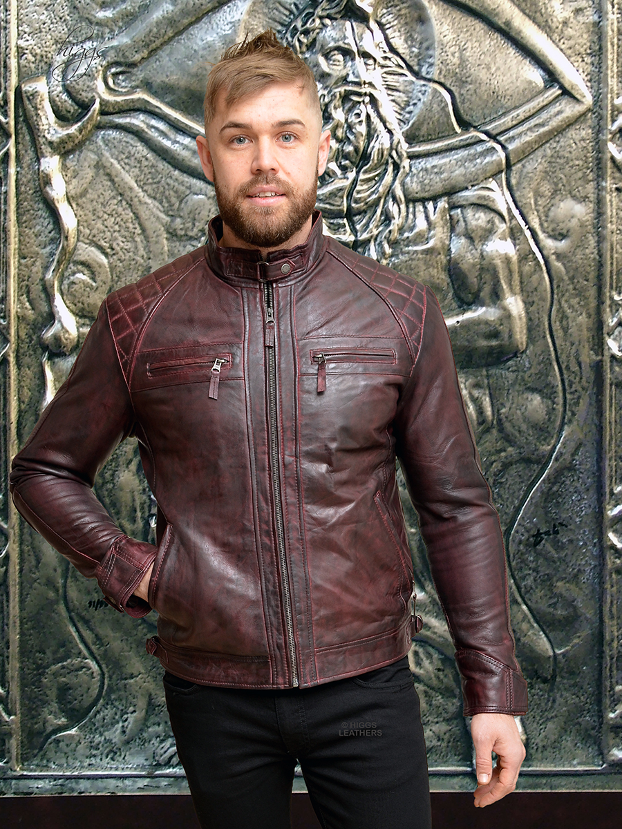 Higgs Leathers {LAST FEW!}  Sergei (men's Burgundy Leather Biker jackets)