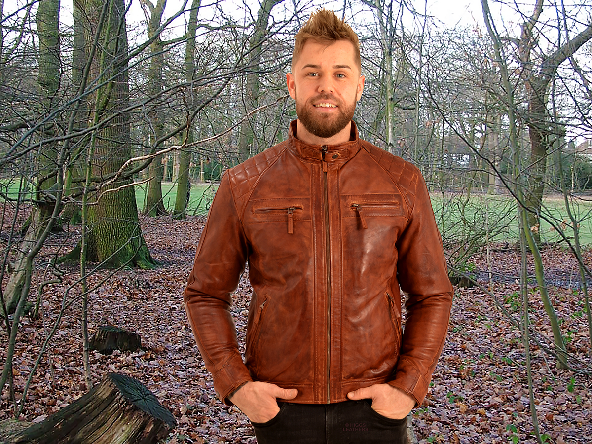Higgs Leathers {LAST FEW - SAVE £40!}  Sergei (men's Budget Leather Bikers jackets)