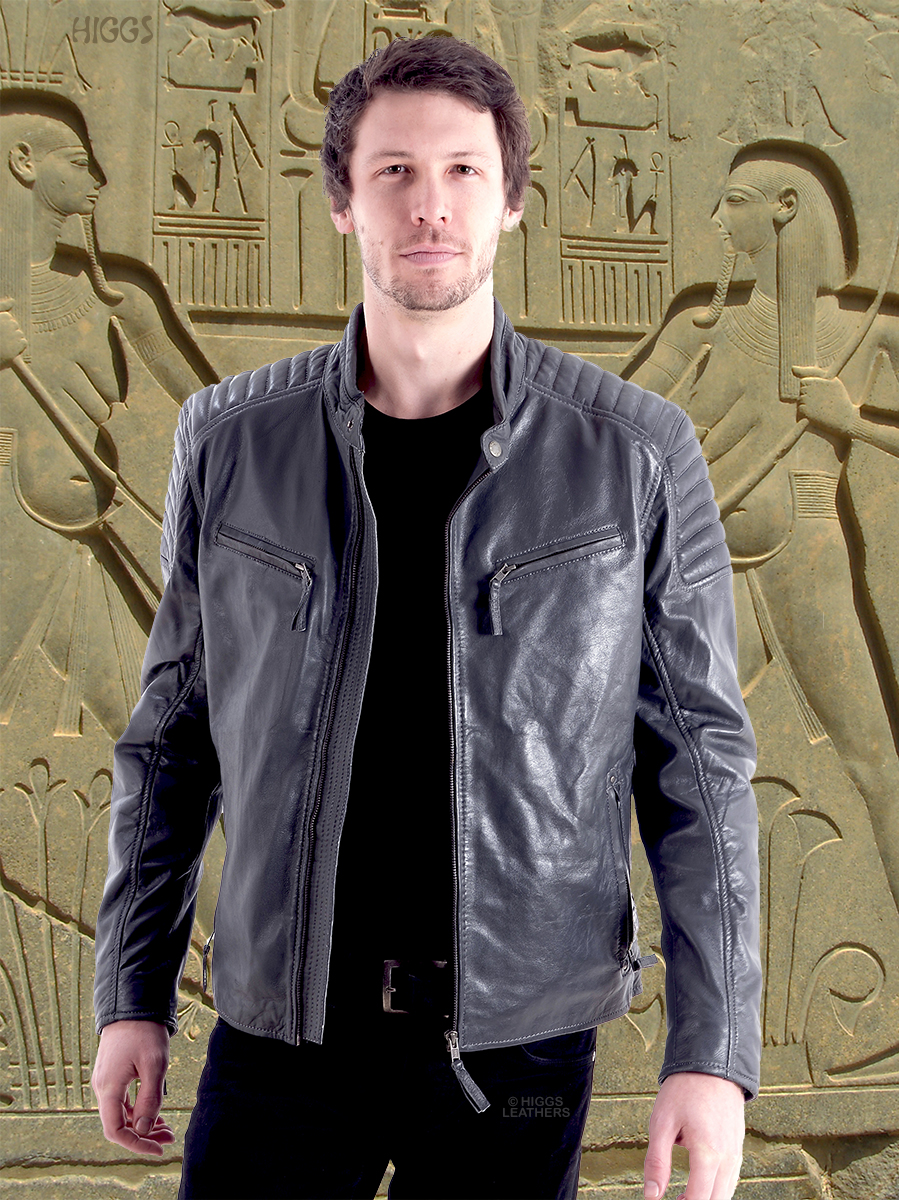 Higgs Leathers {LAST ONE!}  Sergino (men's Grey Biker Leather jackets) Fantastic value!