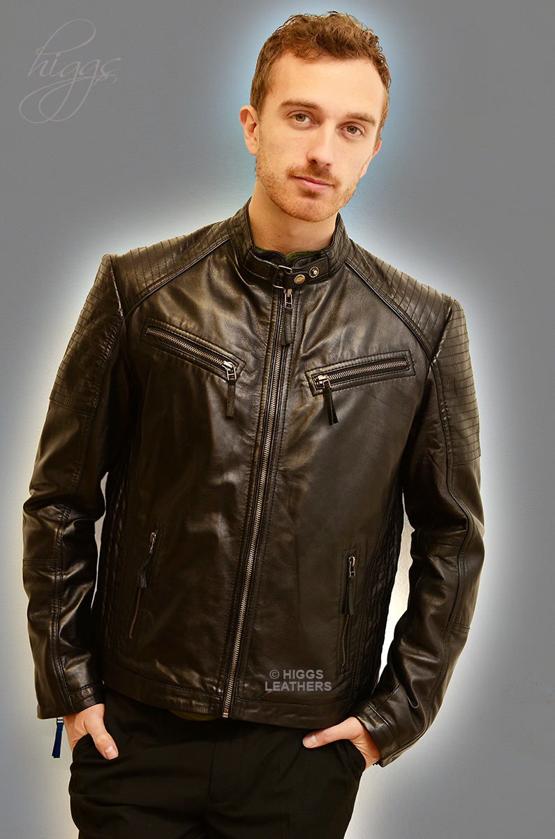 Higgs Leathers {FEW ONLY!}  Sergios (mens Black Leather Biker jackets)
